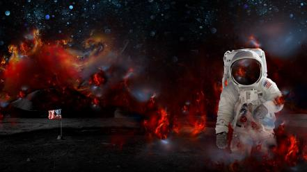 Gravitation spaceman artwork flag studying spacesuit research wallpaper