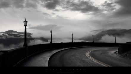 Light landscapes dark roads monochrome wallpaper