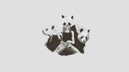 Panda bears artwork white background wallpaper