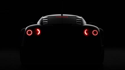 Cars dark background glowing rear angle view Wallpaper