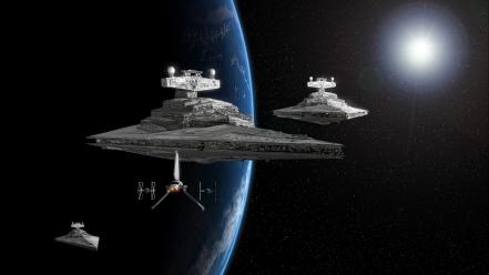 Star wars destroyers tie fighters outer space planets wallpaper