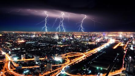 Cities lightning lights night storm wallpaper