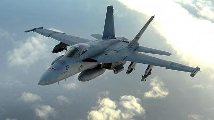 F18 hornet aircraft flying military Wallpaper