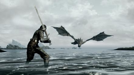 Skyrim dragons girls with swords video games wallpaper