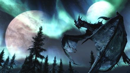 V skyrim dragons fantasy art moons nature wallpaper