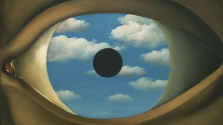 Rene magritte clouds eyes paintings wallpaper