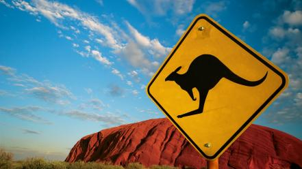 Australia caution kangaroos signs wallpaper