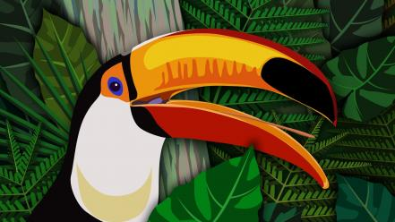 Birds ferns multicolor toucans vectors wallpaper