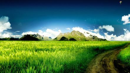 Fields green nature skyscapes wallpaper