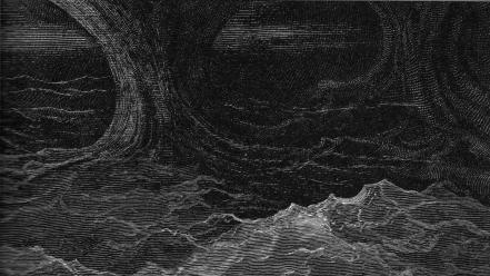 Gustave dore artwork drawings grayscale sea wallpaper