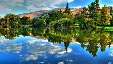 Hdr photography lakes landscapes nature trees wallpaper