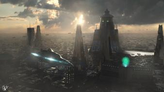 Afternoon cities of the future digital art futuristic wallpaper