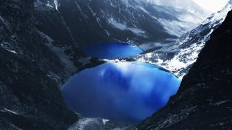 Blue lake mountains wallpaper