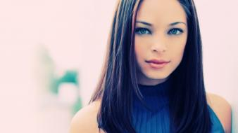 Brunettes women close-up blue eyes people kristin kreuk wallpaper