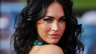 Brunettes women megan fox actress celebrity faces wallpaper