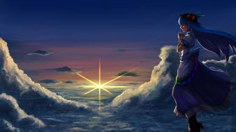 Eyes hinanawi tenshi skyscapes hats anime girls Wallpaper
