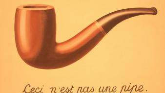 Irony pipes rene magritte the treachery of images wallpaper