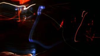 Light abstract blue orange trails wallpaper