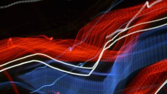 Light blue red audio burning trails wallpaper