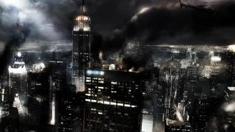 Lights helicopters smoke buildings empire state building wallpaper