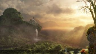 Mountains clouds trees jungle waterfalls graphics design Wallpaper