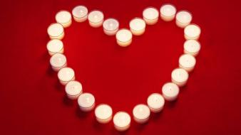 White Candles Heart Wallpaper