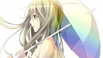 White long hair green eyes umbrellas anime girls wallpaper