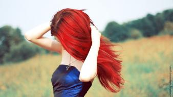 Women nature red dress redheads wallpaper