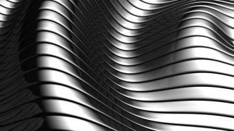 Abstract metallic grayscale curved wallpaper