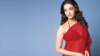Aishwarya Rai Transparent Red Saree wallpaper