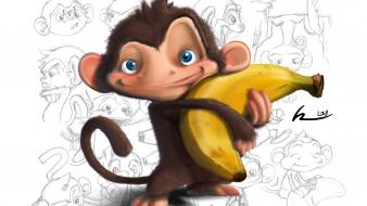 Artwork bananas drawings funny monkeys wallpaper