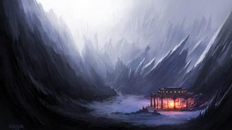 Artwork fireplace andreas rocha master piece wallpaper