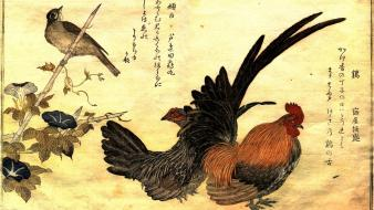 Birds artwork kanji roosters kitagawa utamaro wallpaper