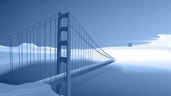 Blue vector bridges art wallpaper