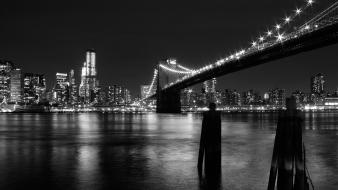 Cityscapes bridges buildings grayscale reflections wallpaper