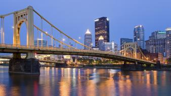 Cityscapes bridges buildings pennsylvania skyscrapers rivers pittsburgh Wallpaper