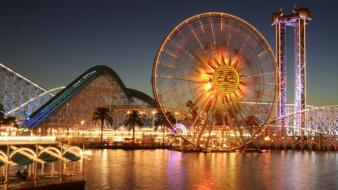 Cityscapes chicago amusement park ferris wheels wallpaper