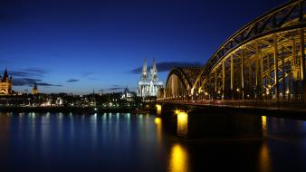 Cityscapes germany architecture bridges buildings cologne lighting evening wallpaper