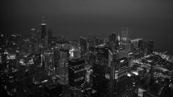 Cityscapes lights buildings grayscale wallpaper