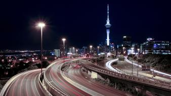 Cityscapes lights buildings skyscrapers auckland Wallpaper