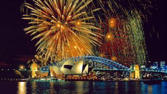 Cityscapes lights fireworks buildings wallpaper