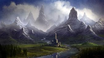 Digital art fantasy mountains streams valleys wallpaper