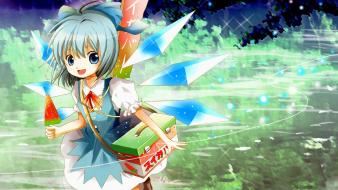 Fairies blue hair short bows anime girls wallpaper