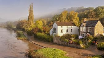 Forest houses fog rivers farm life view Wallpaper