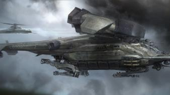 Futuristic flying artwork dropship long ouyang Wallpaper
