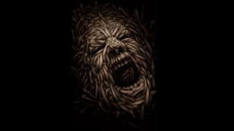 Hands illusions screaming faces wallpaper