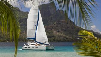 Islands french polynesia tahiti sailboats catamaran sea wallpaper