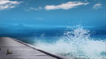 Landscapes nature waves pier splashes sea wallpaper