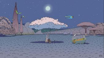 Landscapes trees night moon artwork traditional art moebius Wallpaper