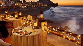 Lights glow dusk dinner breeze evening exotic Wallpaper